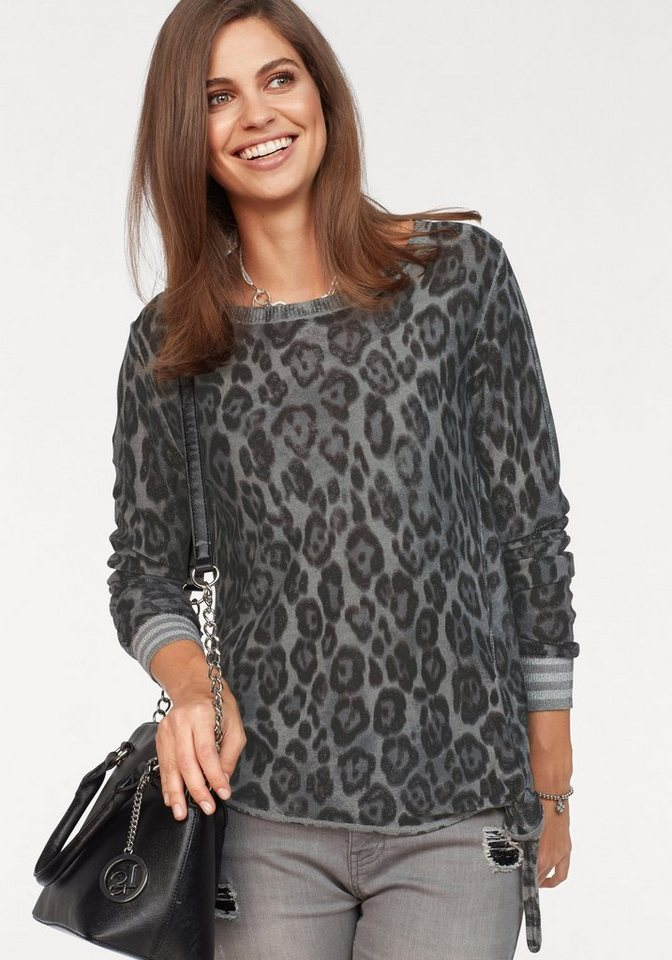 Damen Monari  Rundhalspullover mit allover Animal-Print grau | 04047498722423
