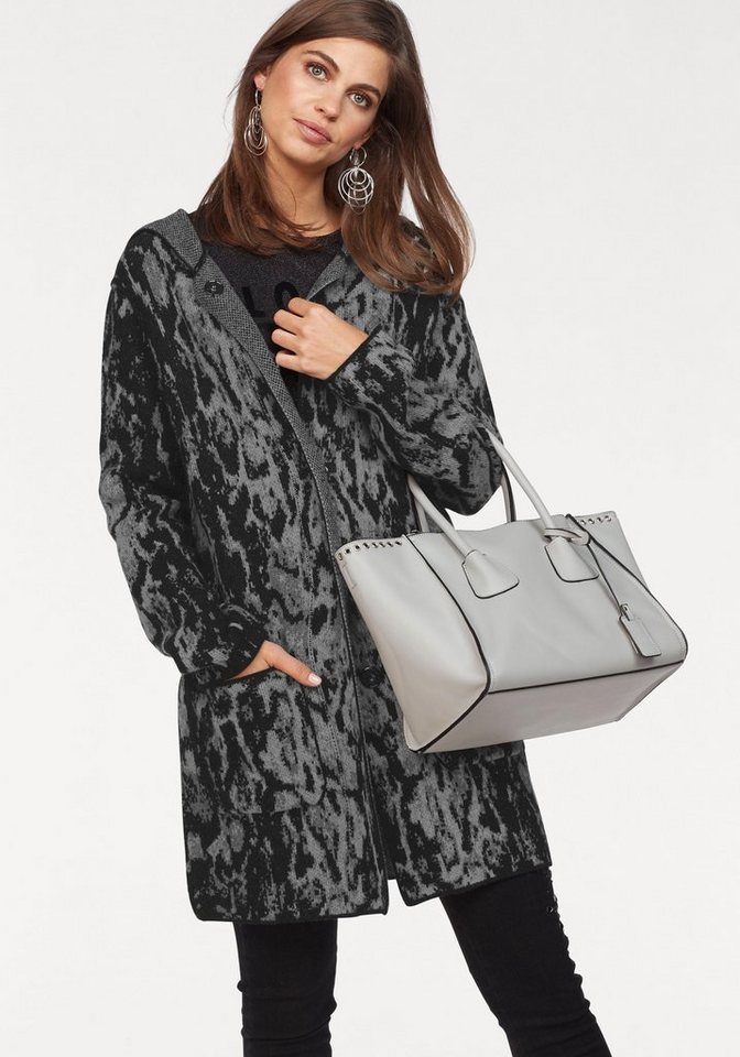 Damen Monari  Strickmantel mit trendigem Allover- Muster schwarz | 04047498757555
