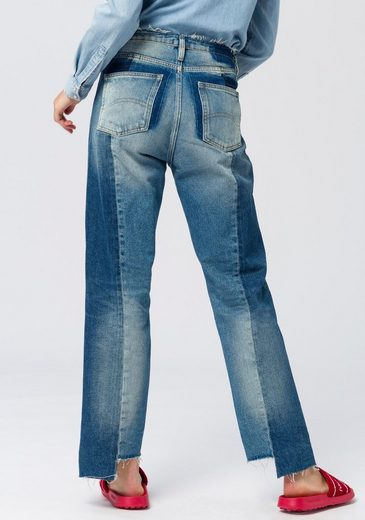 TOMMY JEANS Straight-Jeans »HIGH RISE STRAIGHT 1990 TJCMBRG« in Patch-Optik