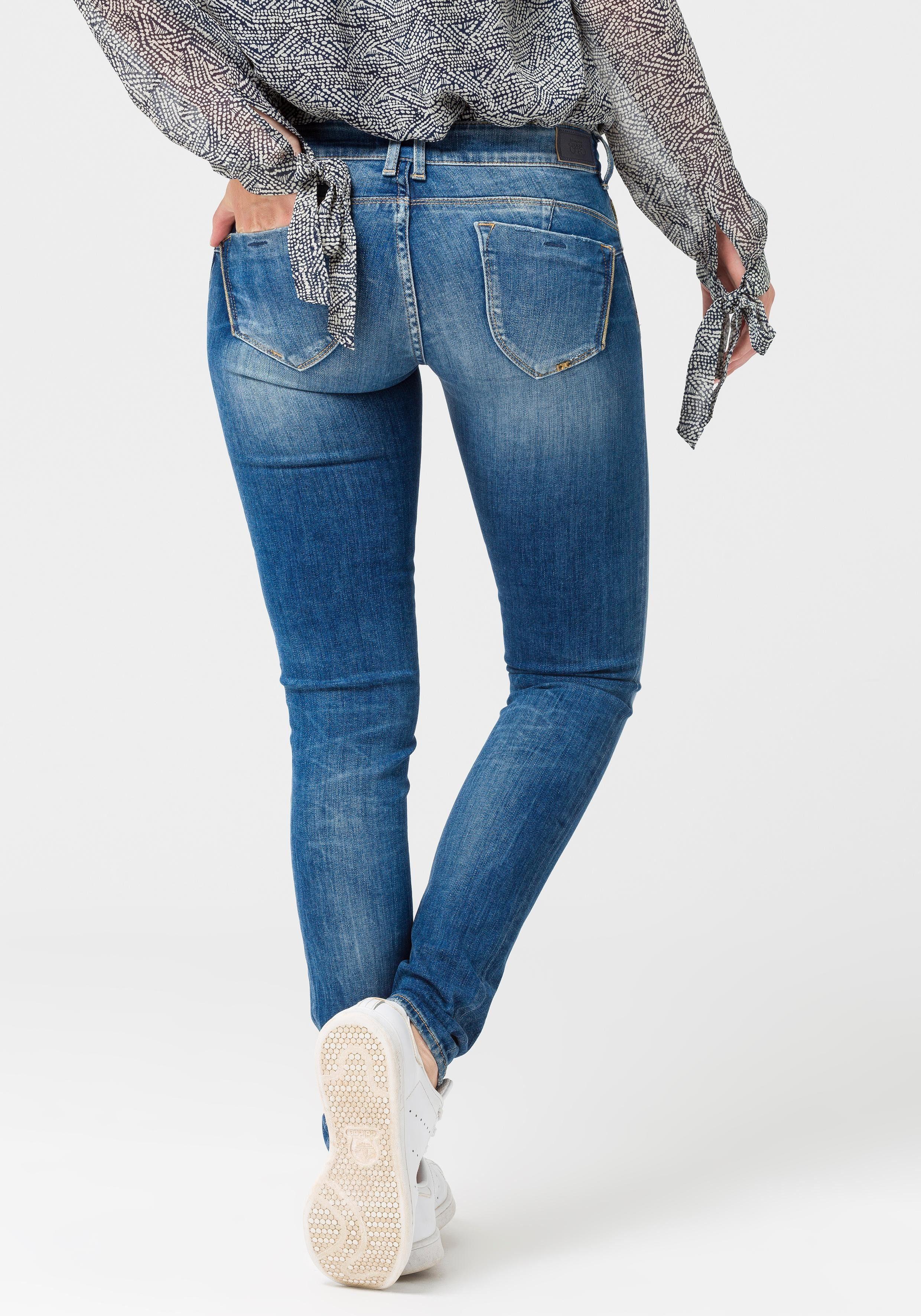 Le Temps Des Cerises Jeanshose Im Angesagten Used-look Blue