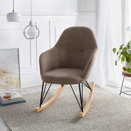 andas Schaukelstuhl »Duena« Stahlbeine mit Holzkufen, moderne Optik, Sitzhöhe 45 cm