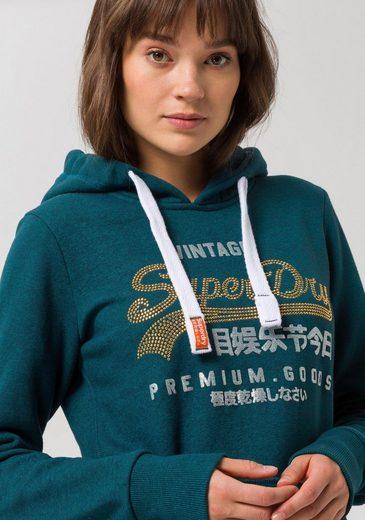 Mit Hood« Modischer Rhinestone Goods Kapuzensweatshirt Entry Glitzerapplikation »premium Superdry YCRq4