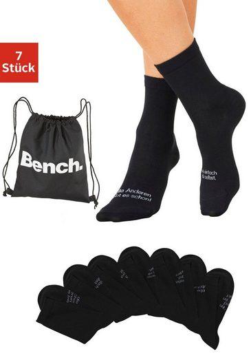 Bench. Socken (7-Paar) mit Turnbeutel