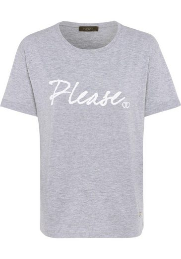 Please Jeans T-Shirt mit Logo-Print