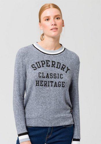 Damen,Kinder,Mädchen Superdry Rundhalspullover AMERICAN GIRL APPLIQUE TOP im College-Style blau | 05057101704547