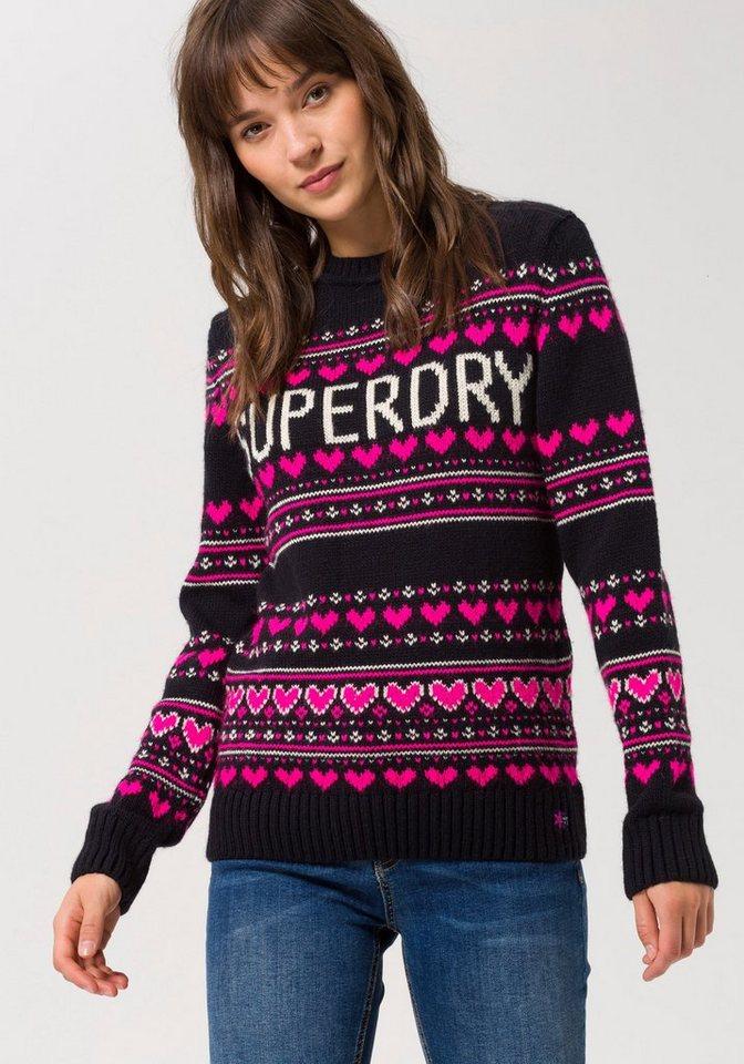Superdry Norwegerpullover »CLEVELAND FAIRISLE KNIT« mit modischen Glitzerdetails | Bekleidung > Pullover > Norwegerpullover | Blau | Superdry