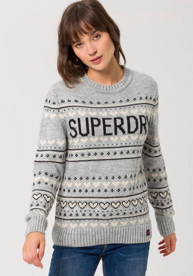 Superdry Norwegerpullover »CLEVELAND FAIRISLE KNIT« mit modischen Glitzerdetails | Bekleidung > Pullover > Norwegerpullover | Grau | Superdry