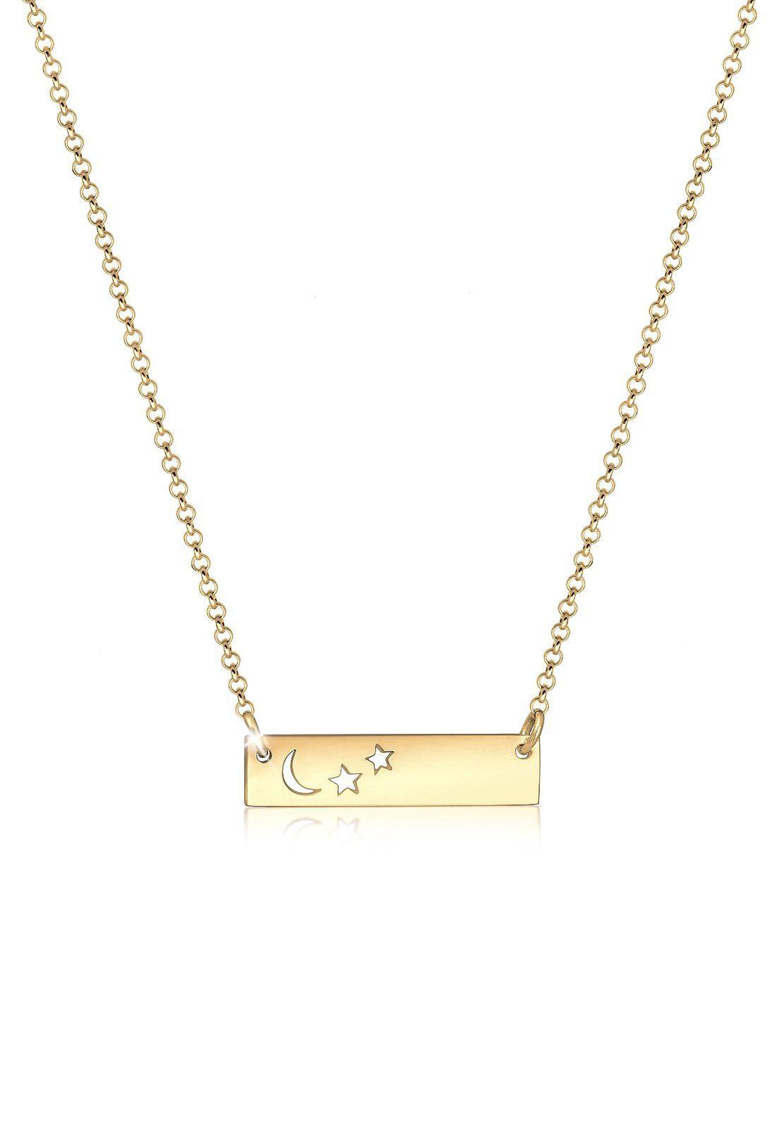 Elli Collierkettchen »Halbmond Sterne Astro 925 Sterling Silber«
