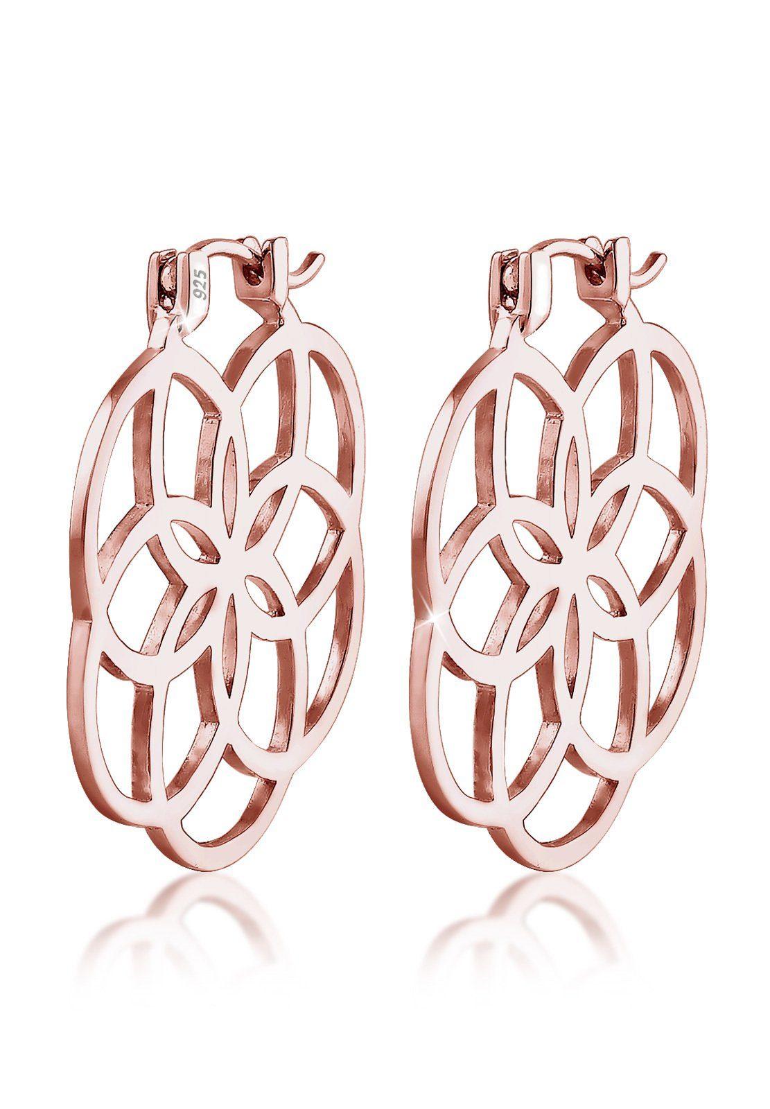 Elli Paar Creolen »Creolen Lebensblume 925 Silber rosé vergoldet«