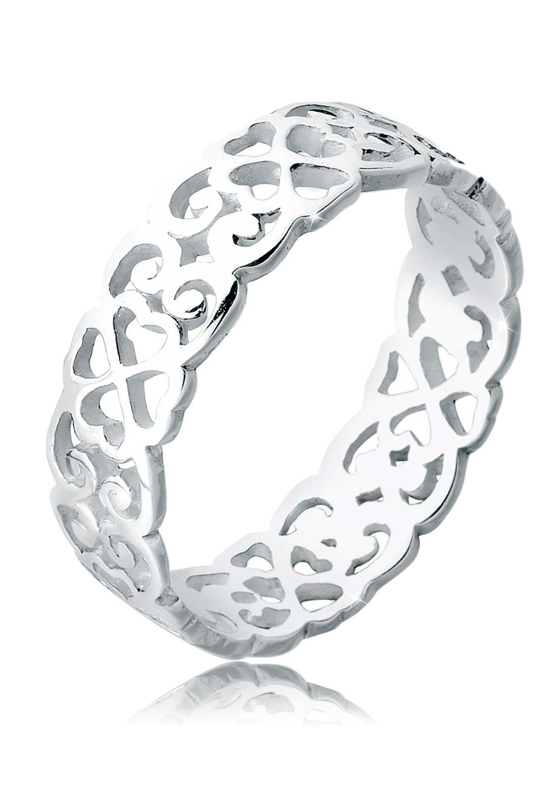 Elli Fingerring »Herz Kleeblatt Ornament Cut Out 925 Silber«