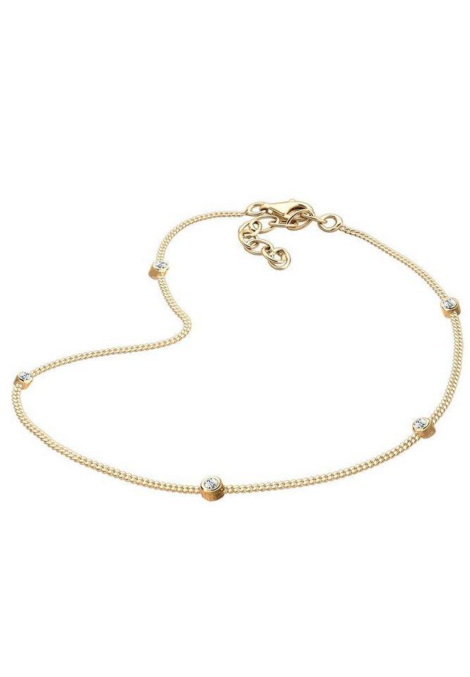 GOLDHIMMEL Fußkette »Swarovski® Kristalle 925 Sterling Silber«   Schmuck > Halsketten > Goldketten   Goldfarben   GOLDHIMMEL