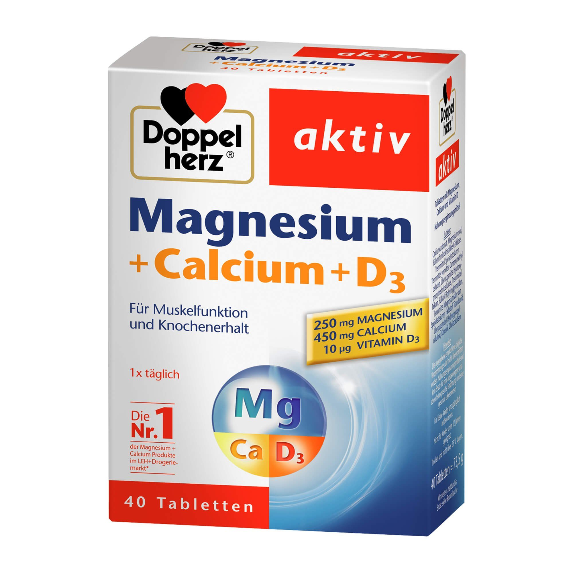 Doppelherz Doppelherz Magnesium + Calcium + D3 aktiv , 40 St