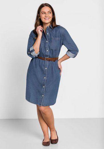Sheego Jeanskleid im Hemdblusen-Stil