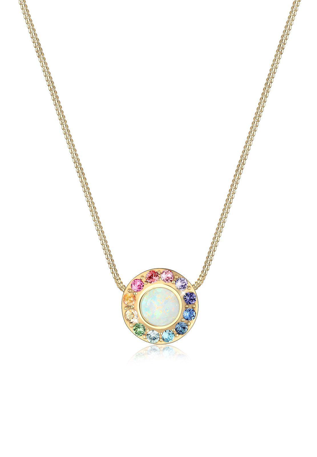 Elli Collierkettchen »Opal Regenbogen Swarovski® Kristalle 925 Silber«