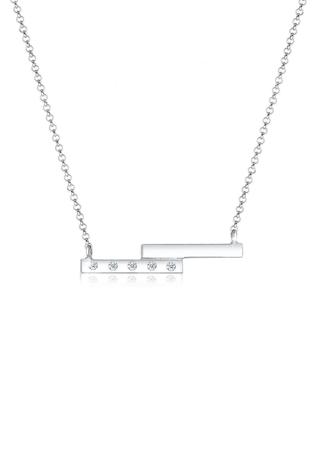 Diamore Collierkettchen »Geo Rechteck Diamant (0.10 ct) 925 Sterling Silber«