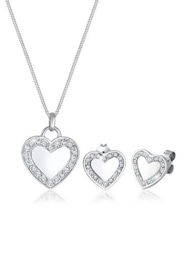 Elli Schmuckset »Herz Love Swarovski® Kristalle 925 Silber«