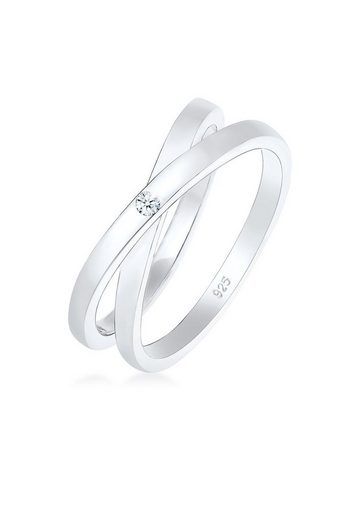 Diamore Diamantring »Wickelring Cross Diamant (0.015 ct) 925 Silber«
