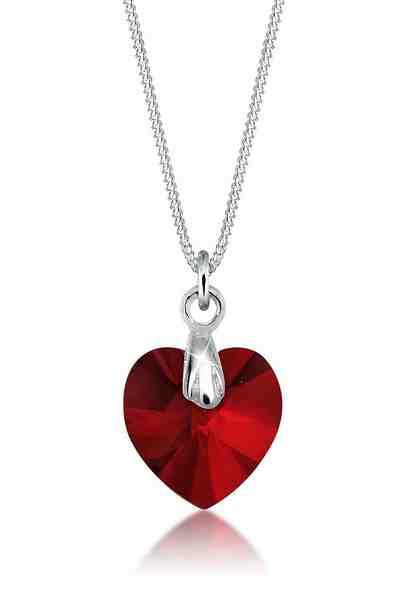 Elli Collierkettchen »Herz Liebe Swarovski® Kristall 925 Silber«
