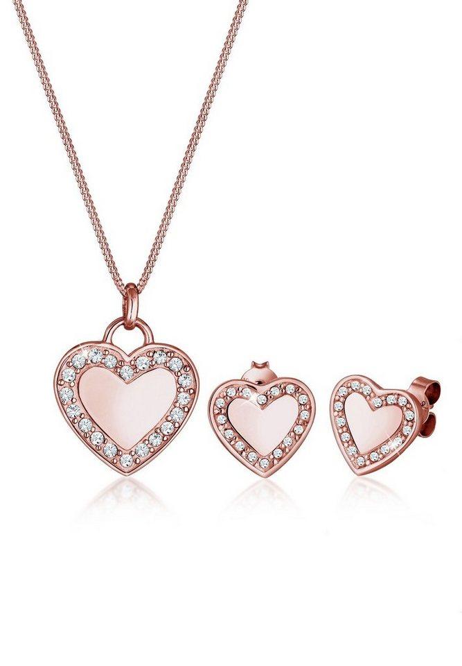 Elli Schmuckset »Herz Love Swarovski® Kristalle 925 Silber« | Schmuck > Schmucksets | Goldfarben | Elli