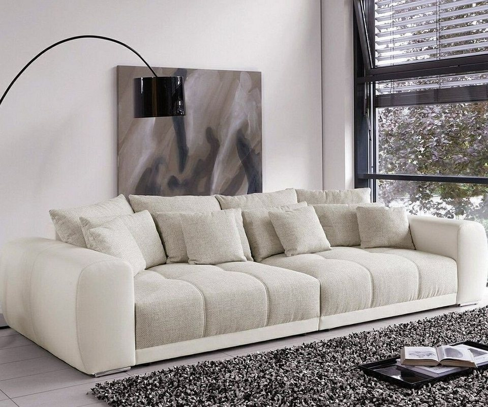 delife bigsofa valeska grau cremeweiss 310x135 xxl sofa. Black Bedroom Furniture Sets. Home Design Ideas