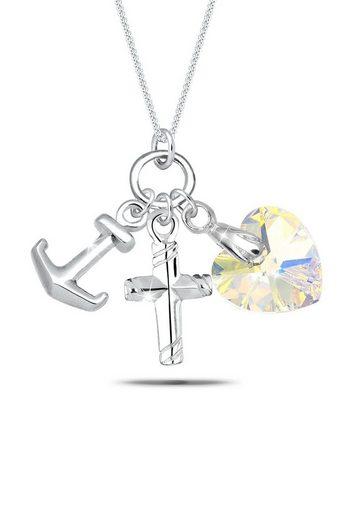 Elli Collierkettchen »Herz Kreuz Anker Swarovski® Kristalle Silber«