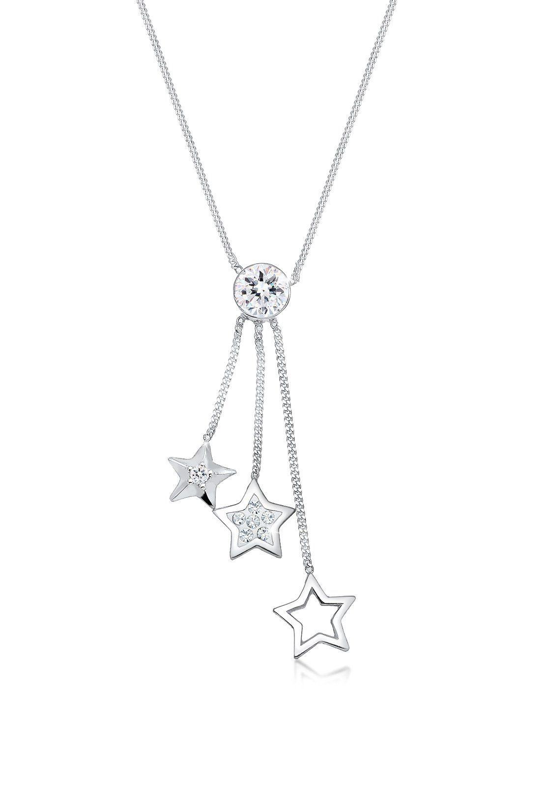 Elli Collierkettchen »Sterne Solitär Swarovski® Kristalle 925 Silber«