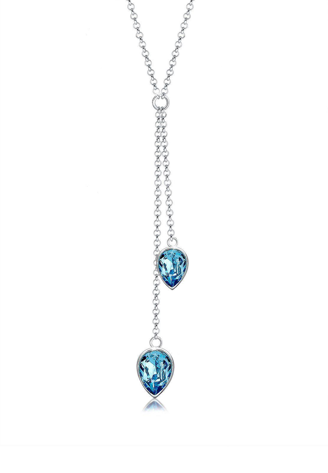 Elli Collierkettchen »Y-Kette Tropfen Swarovski® Kristalle 925 Silber«