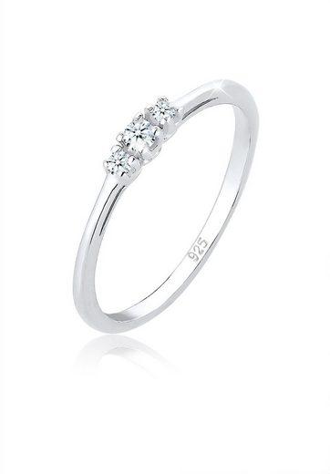 Elli Diamantring »Verlobungsring Diamant (0.06 ct) Zart 925 Silber«