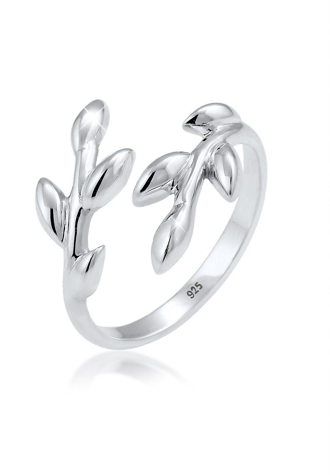 Elli Fingerring »Olivenblatt Zweig Natur 925 Silber«