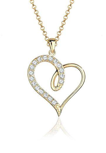 Elli Collierkettchen »Herz Swarovski® Kristalle 925 Sterling Silber«