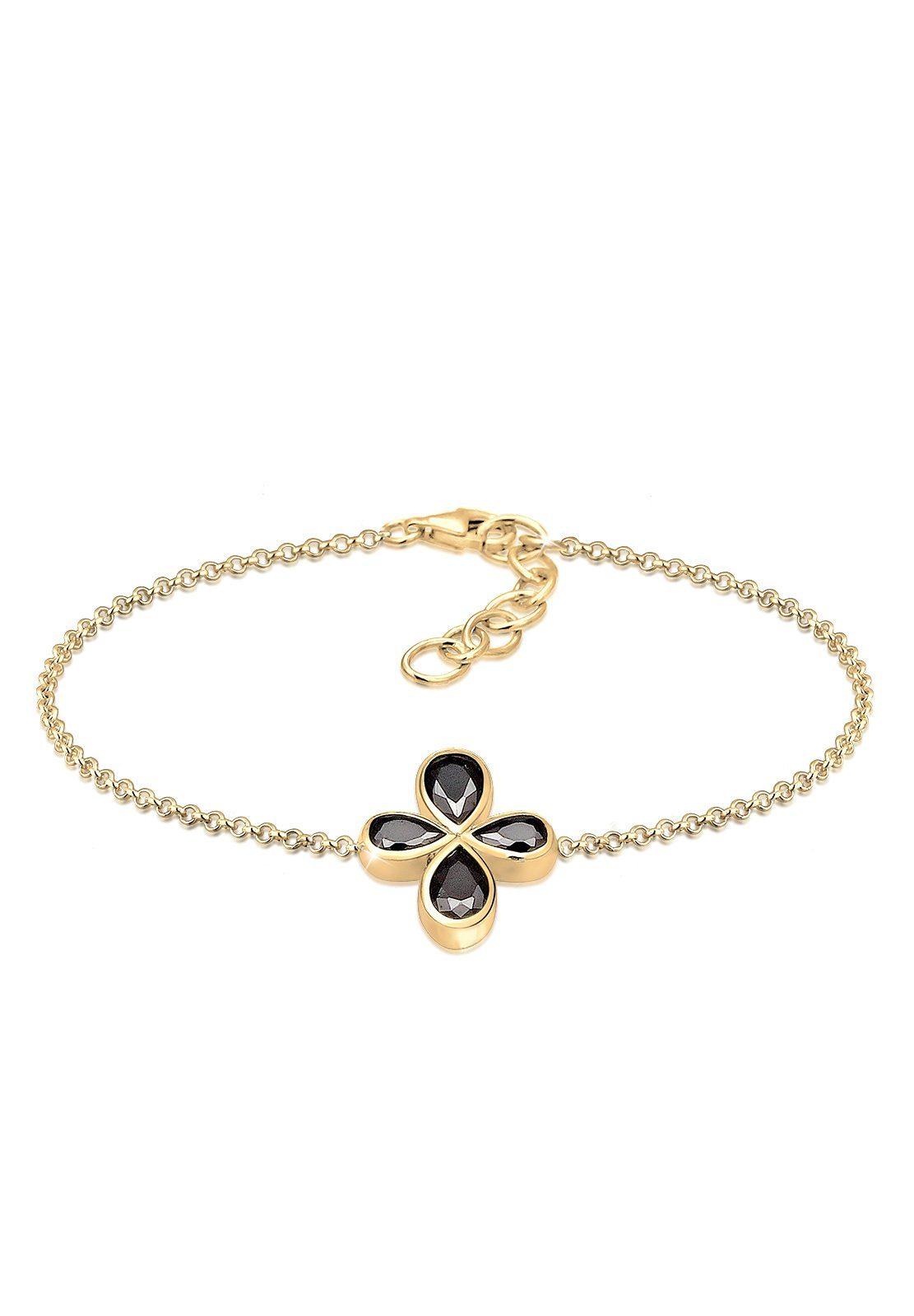 Elli Armband »Blume Floral Geo Zirkonia 925 Sterling Silber Nera«