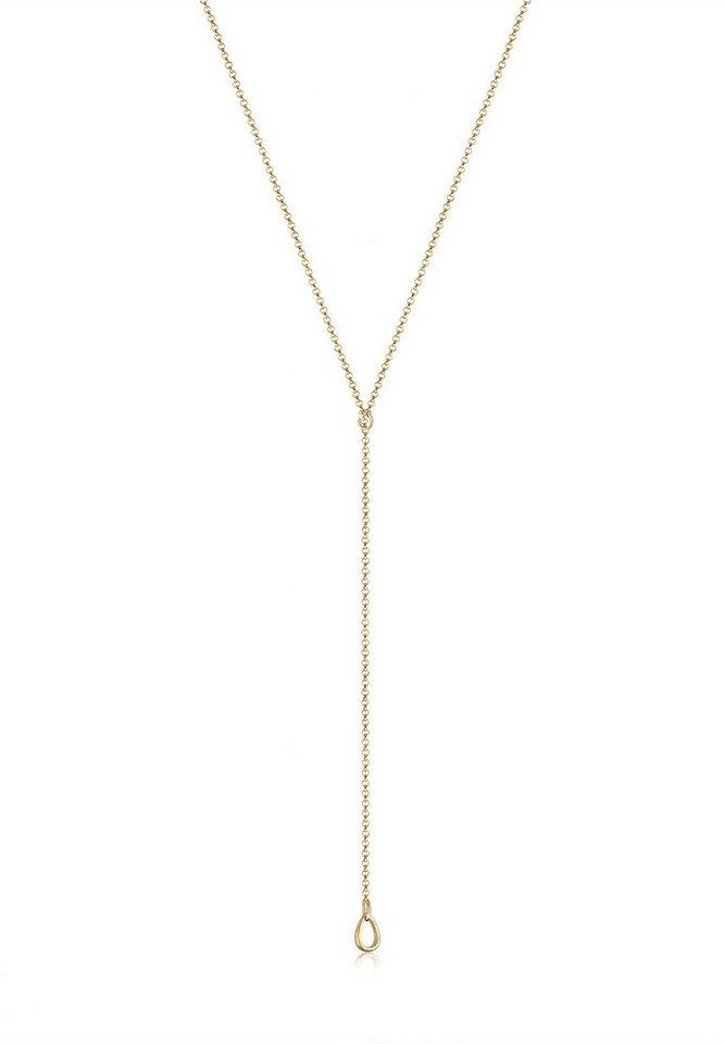 Elli Perlenkette »Basic Y-Kette Tropfen 925 Sterling Silber« | Schmuck > Halsketten > Perlenketten | Goldfarben | Elli