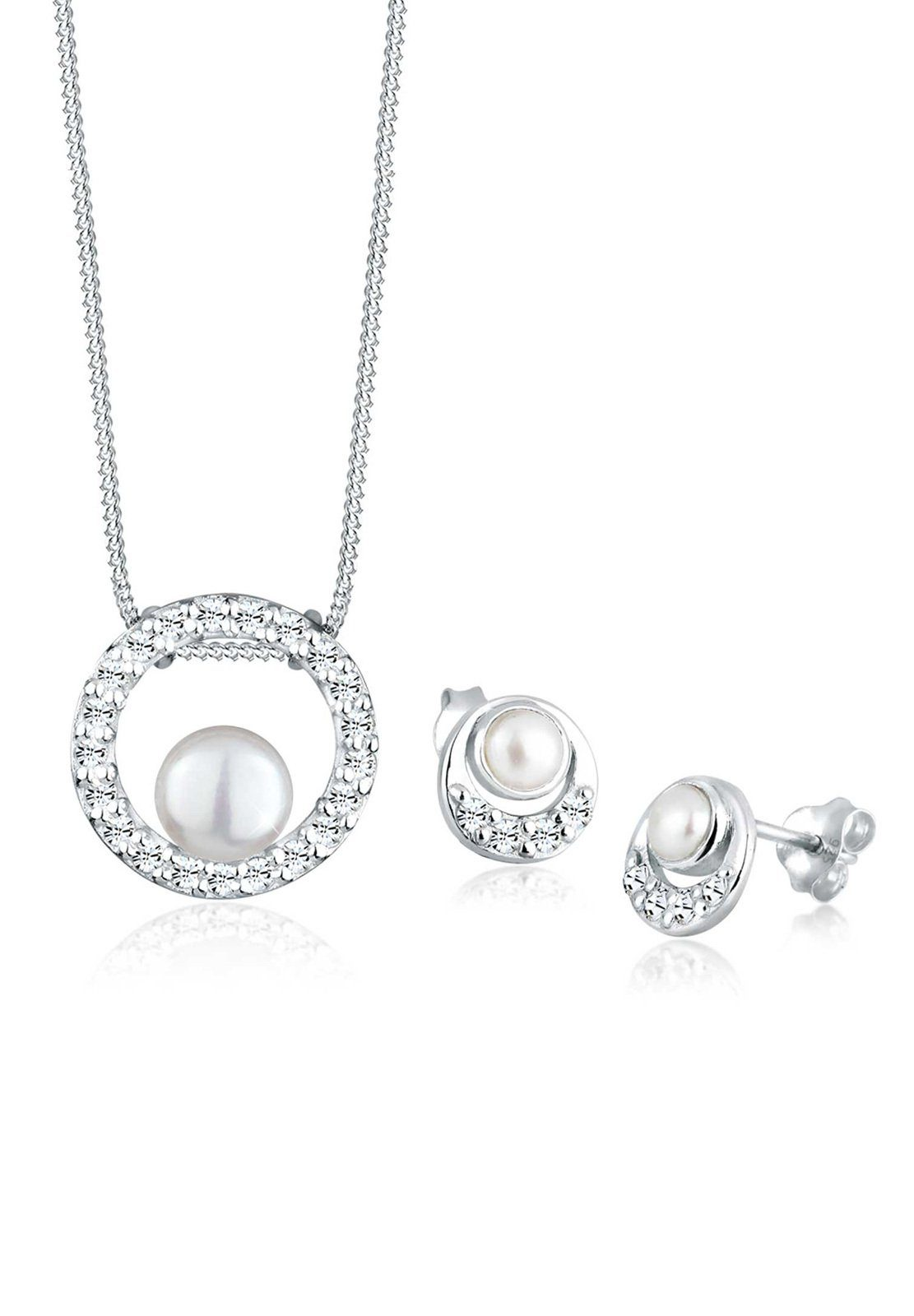 PERLU Ohrring und Ketten Set »Set: Perle Swarovski® Kristall 925 Silber« (Set, 2 tlg)