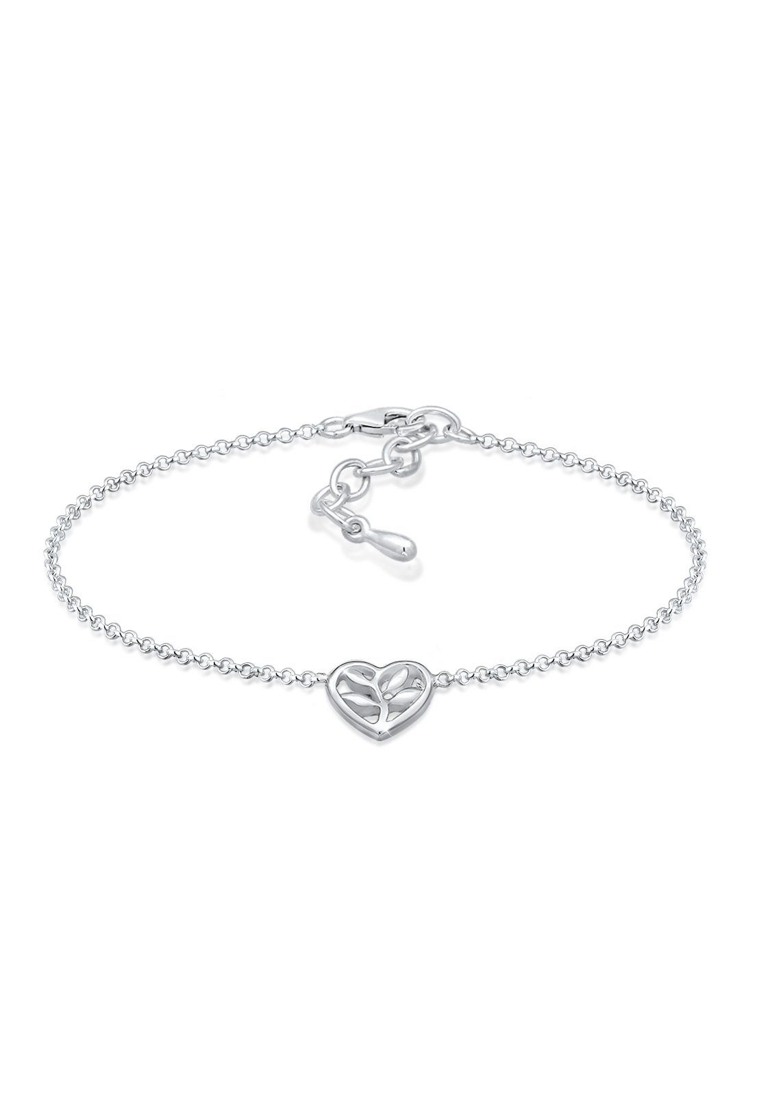 Elli Armband »Herz Cut-Out Lebensbaum Blume 925 Silber Beau«