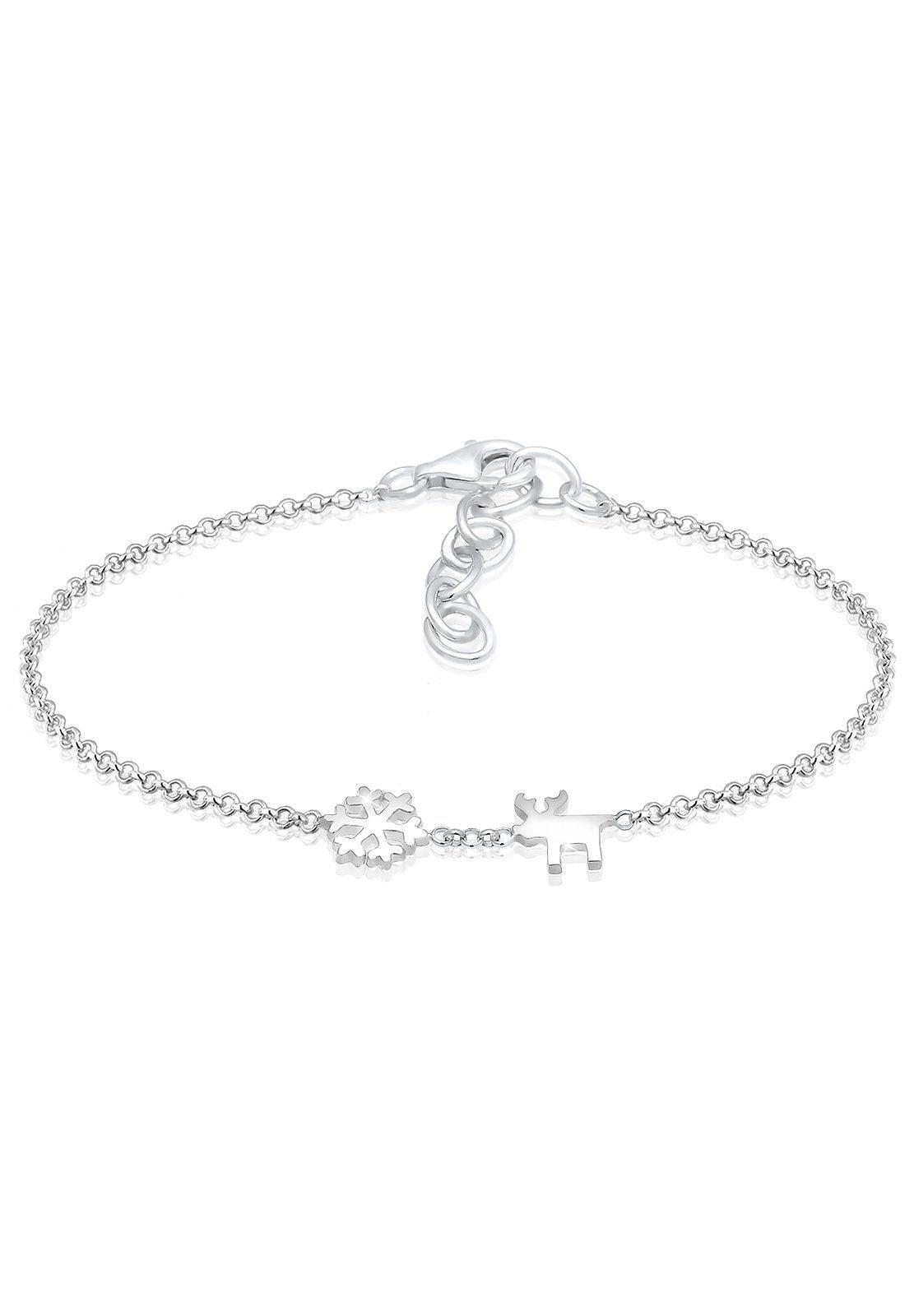 Elli Armband »Schneeflocke Elch Rentier Winter Trend 925 Silber«