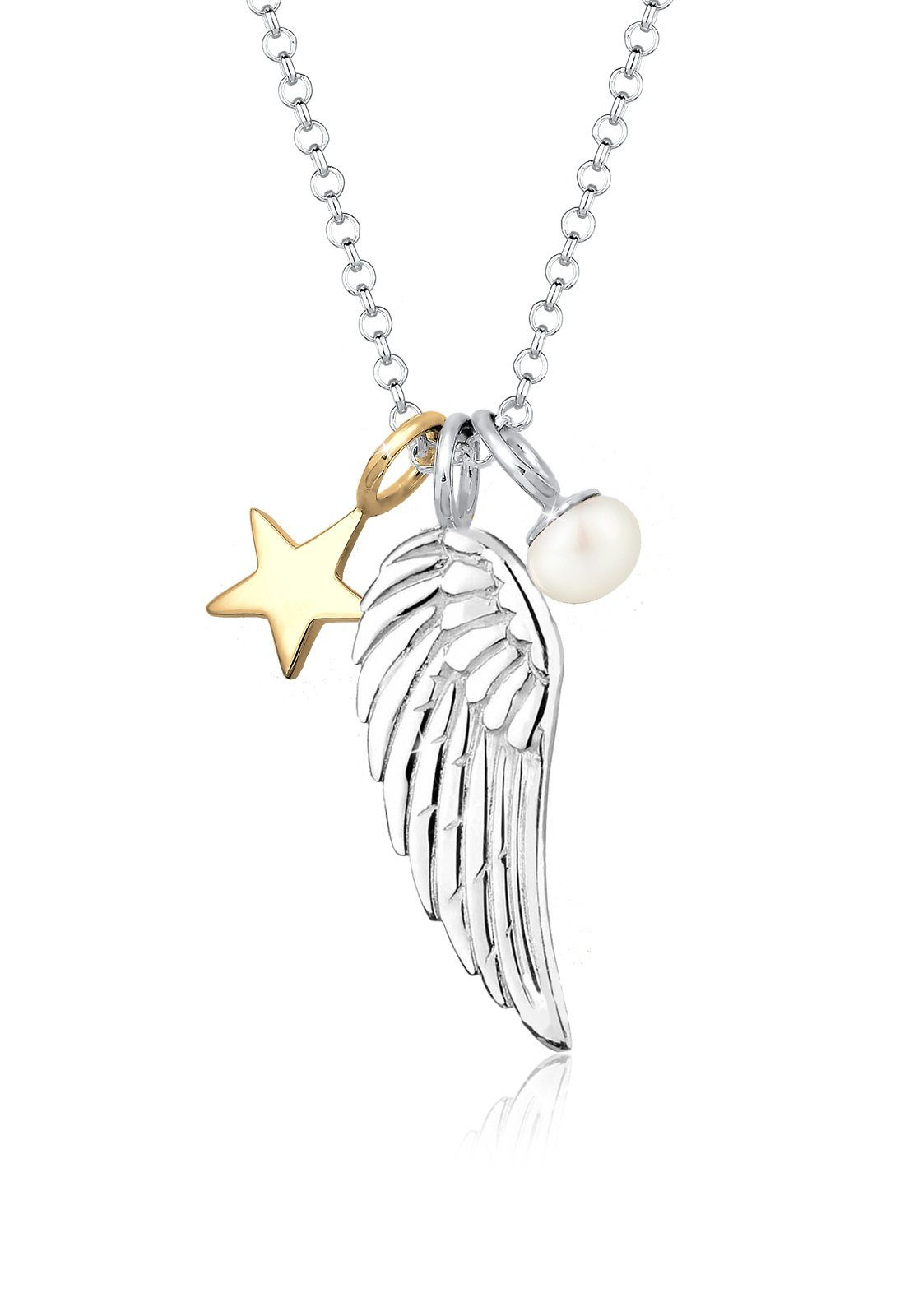 Elli Perlenkette »Sterne Flügel Perle Bi-Color 925 Silber«