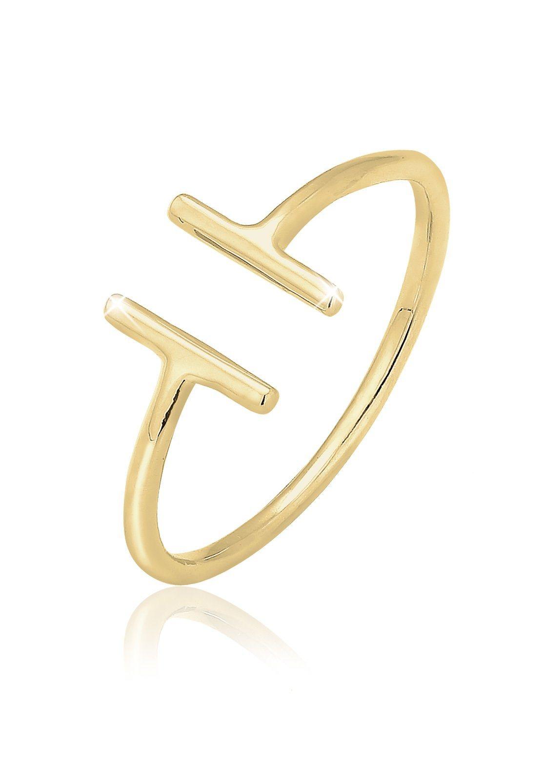 Elli Fingerring »Geo Statement 375 Gelbgold« | Schmuck > Ringe > Fingerringe | Goldfarben | Elli