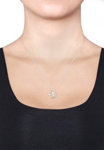 Elli Collierkettchen »Herz Schmetterling Zirkonia 925 Silber Noble«