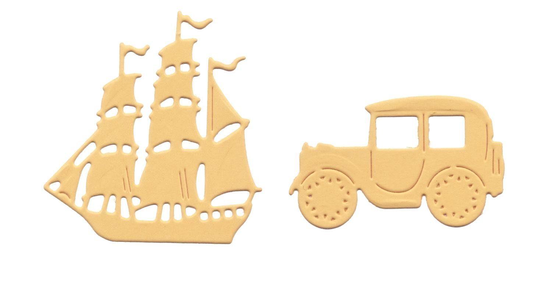 """Stanz- & Prägeschablone """"Segelboot & Oldtimer"""""""