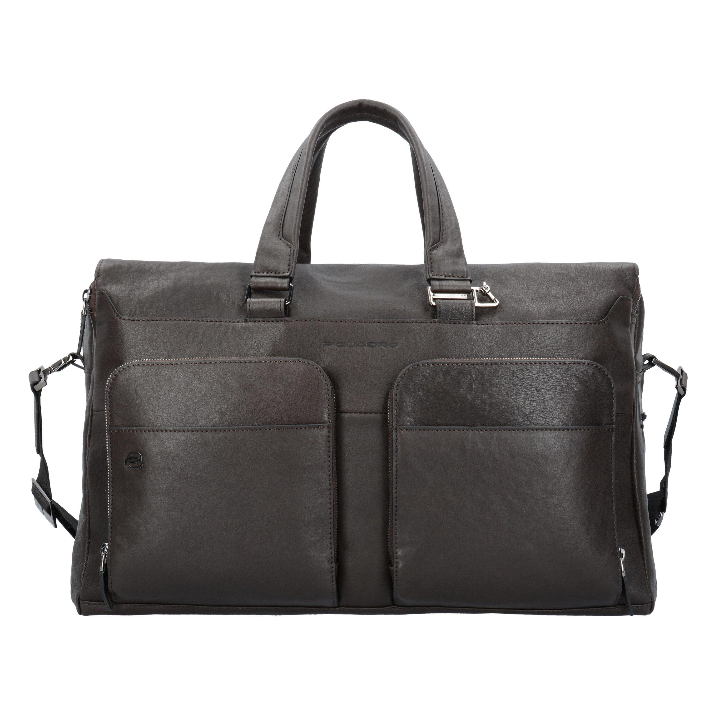 Piquadro Black Square Weekender Reisetasche Leder 47 cm Laptopfach