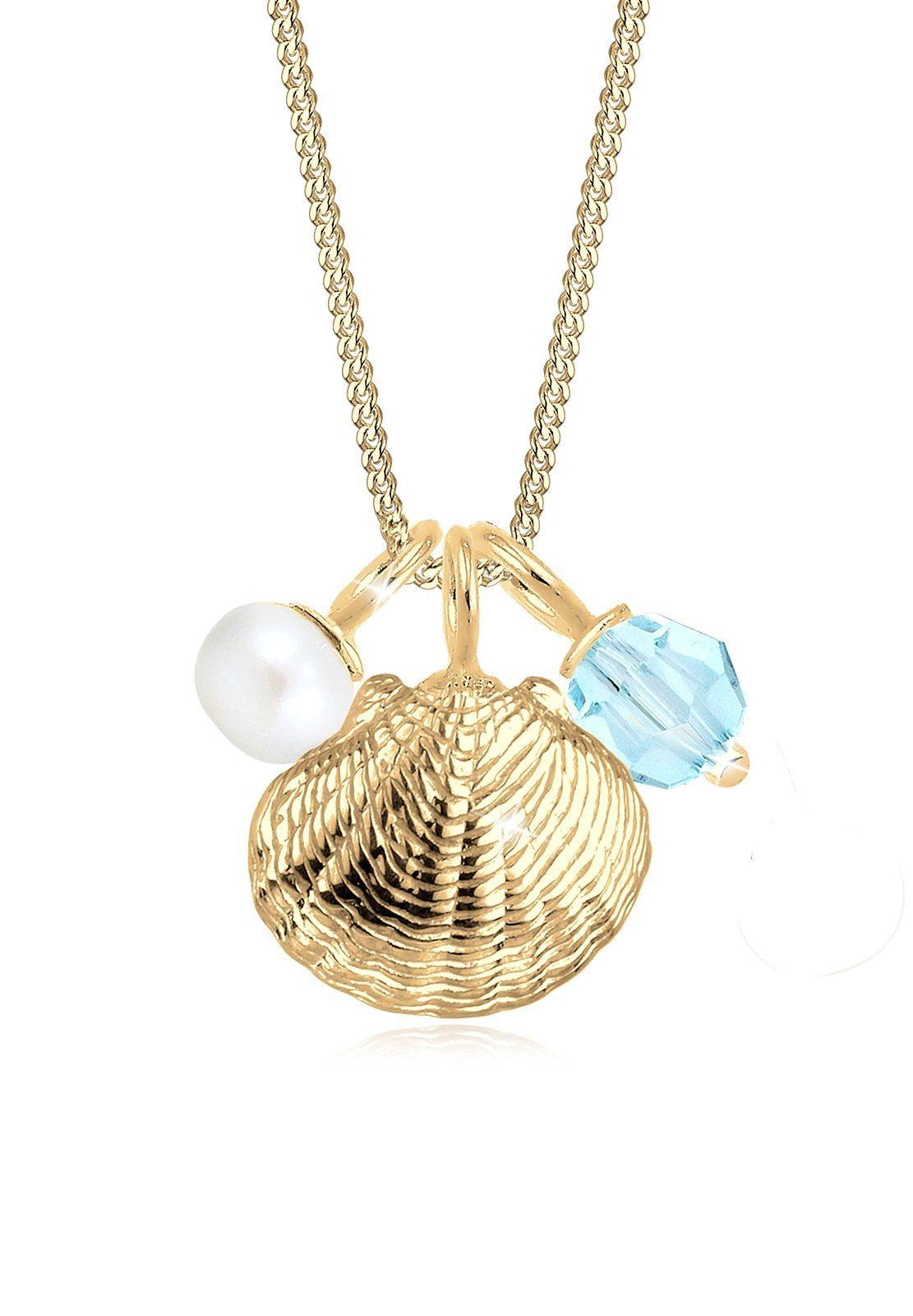 Elli Collierkettchen »Muschel Perle Swarovski® Kristall Sterling Silber«