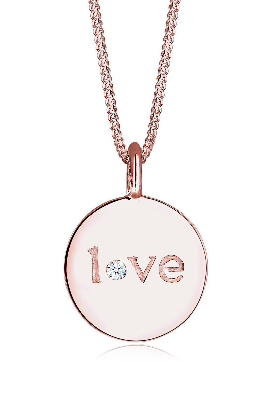 Elli Collierkettchen »Love-Schriftzug Diamant 925 Sterling Silber«