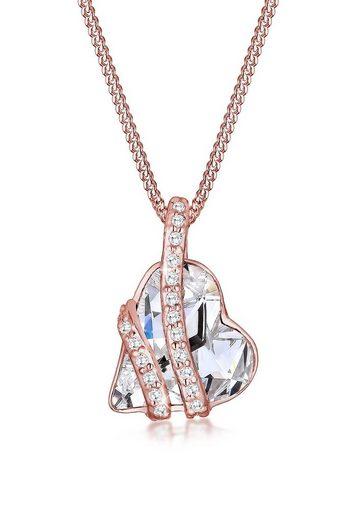 Elli Collierkettchen »Herz mit Swarovski® Kristalle Umschlungen Silber«