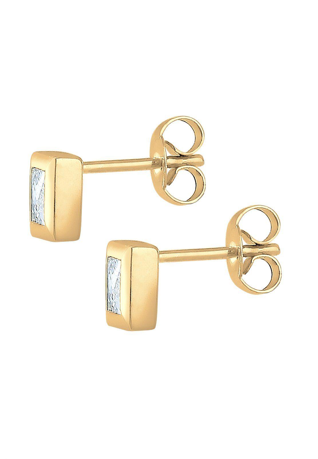 Elli Paar Ohrstecker »Viereck Quadrat Zirkonia 585 Gelbgold«