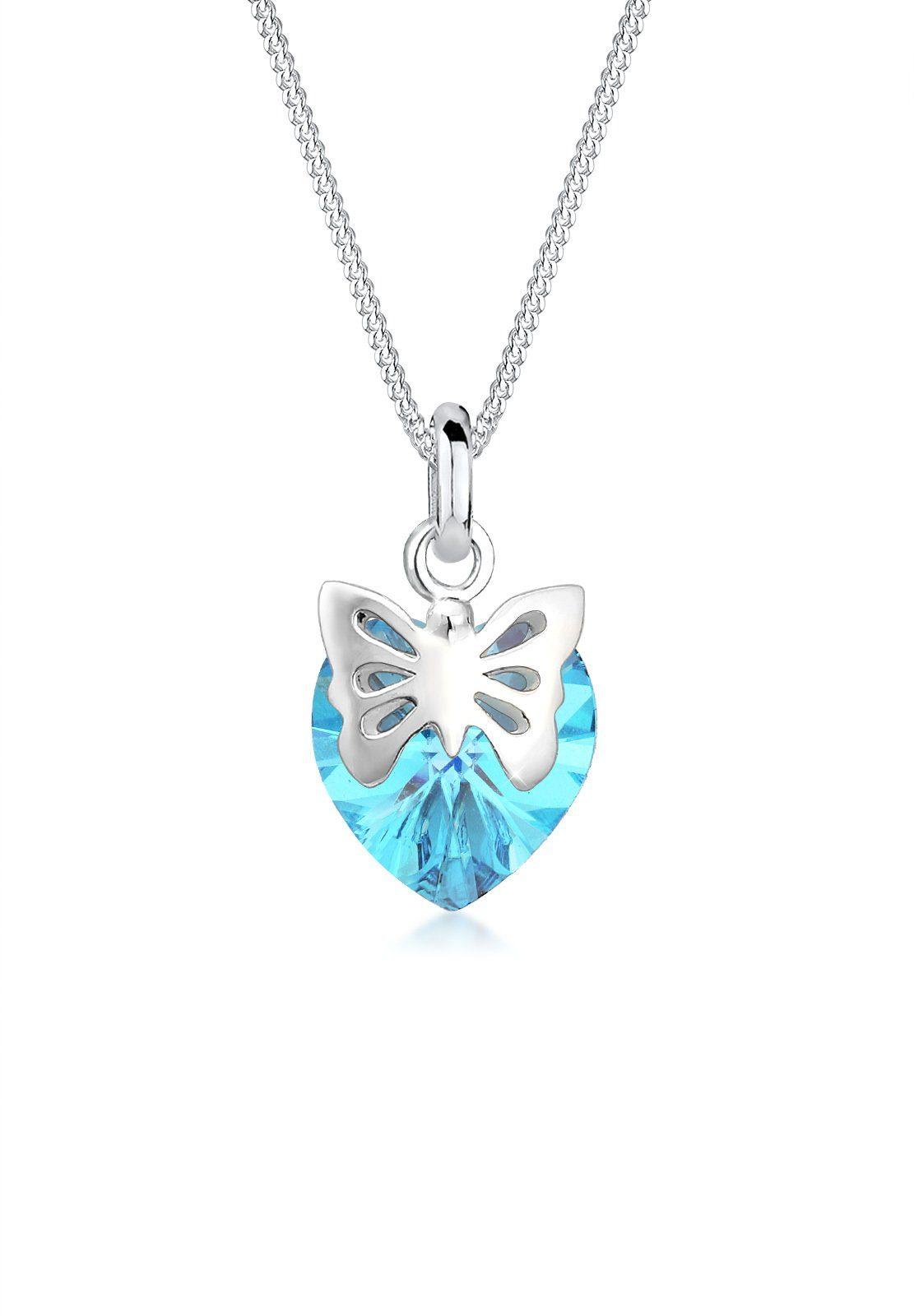 Elli Collierkettchen »Schmetterling Herz Swarovski® Kristalle 925 Silber«