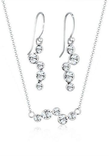 Elli Schmuckset »Swarovski® Kristalle Rund (3.tlg) 925 Silber«