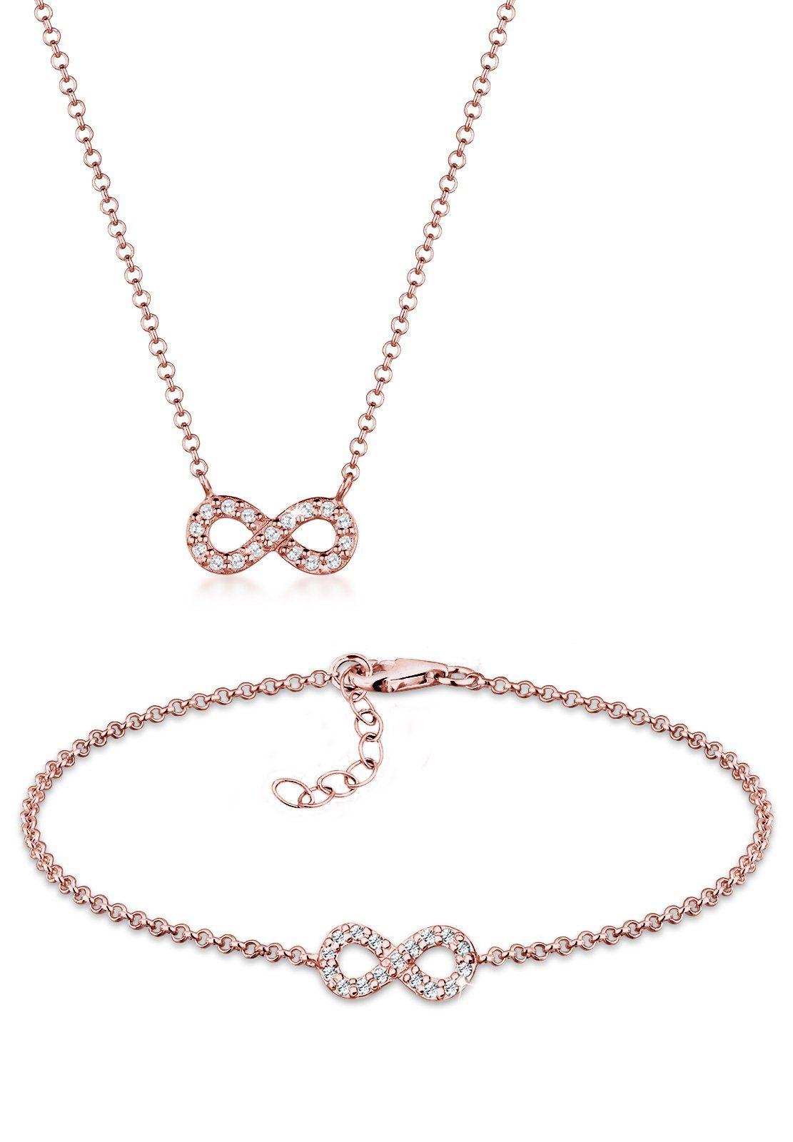 Elli Schmuckset »Set: Infinity Swarovski® Kristalle 925 Silber« (Set, 2 tlg)