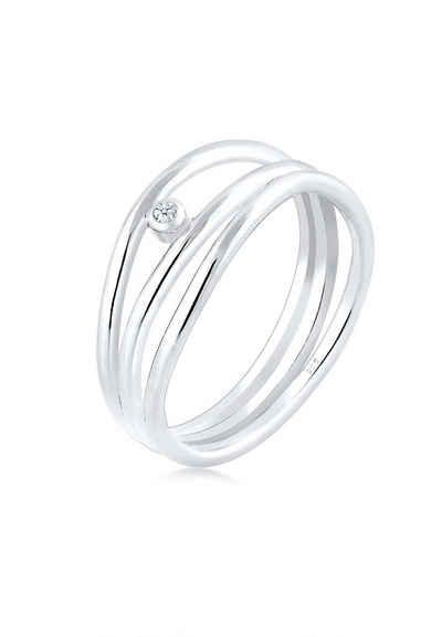 Elli Diamantring »Wickelring Asymmetrisch Diamant (0.015ct) Silber«