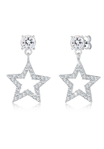 Elli Paar Ohrhänger »Sterne Sparkling Swarovski® Kristalle 925 Silber«