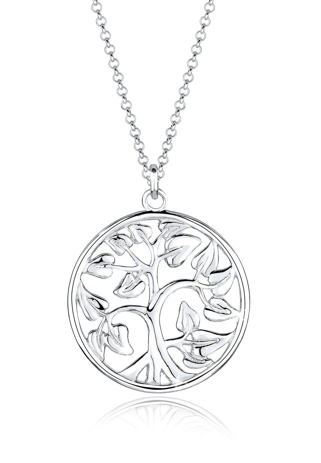 Elli Kette mit Anhänger »Münze Tree of Life Lebensbaum 925 Sterling Silber«